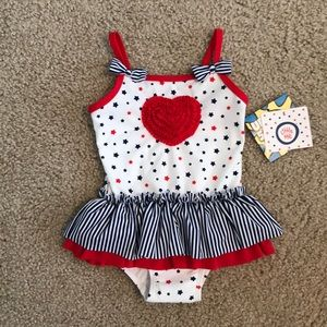 NWT Little Me Americana Bathing suit 24m